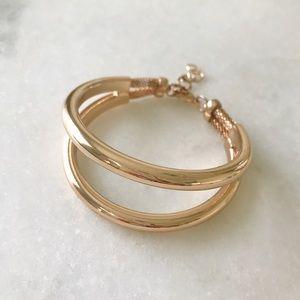 NEW | Trendy Bangle Double Wrap Bracelet in Gold